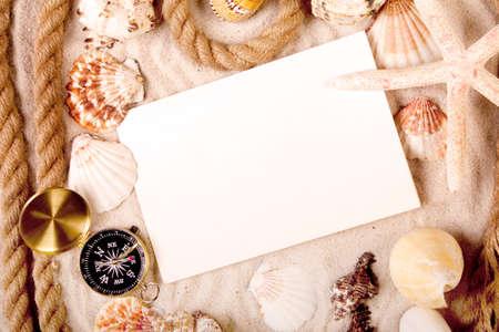beach mat: Treasures from sands Stock Photo