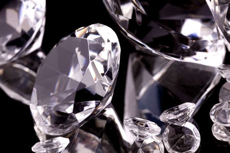 precious stone: Diamonds in mirror Stock Photo
