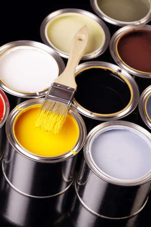 Paints and brush photo