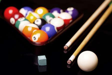 Billiard balls on green table! photo