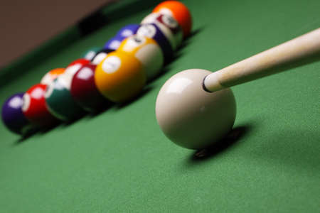 snooker tables: Billiard balls on green table!