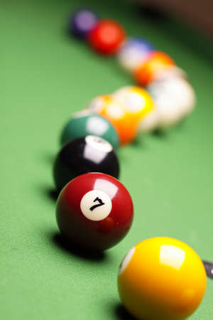 billiards tables: Billiard balls on green table!