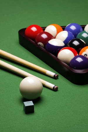 Billiard balls on green table! photo
