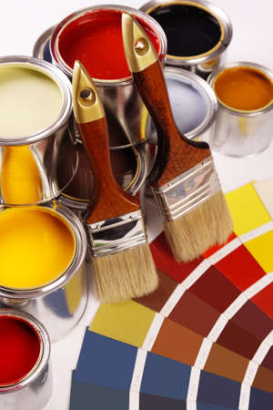 Paints and color picker Stock Photo - 8701224