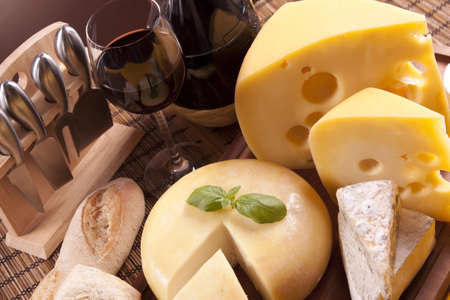 Cheese and wine composition photo