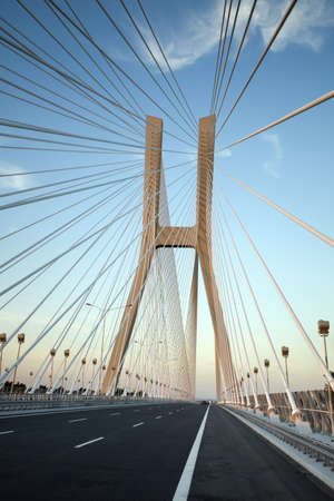 steel cable: Bridge in Wroclaw Editorial