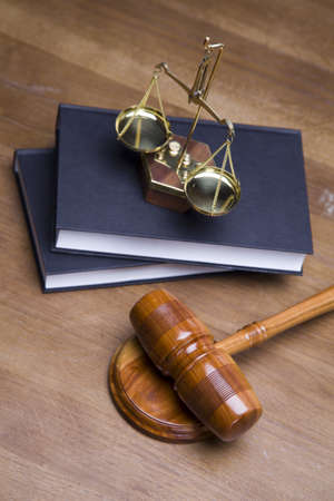 Gavel of justice and gavel on desk with dark background Stock Photo - 11637781