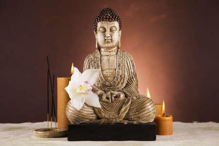 Buddha closeup, religion concept photo