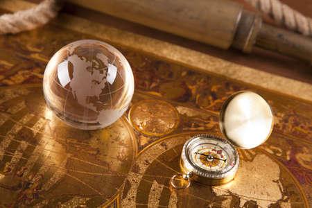 빈티지 navitagion 장비, 편지 및지도 스톡 콘텐츠