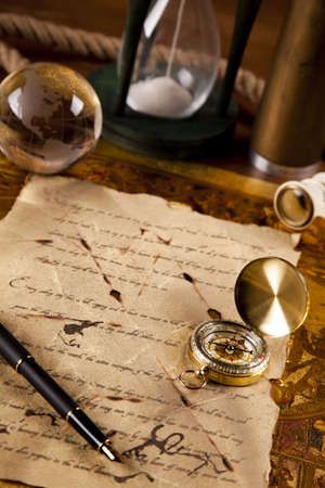 Vintage navitagion equipment, letter and maps Stock Photo - 12657835