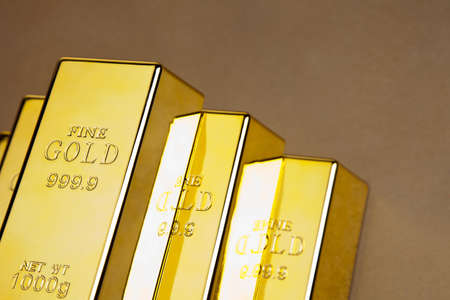 Real photo of gold bars, studio shots, closeup photo