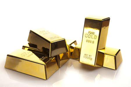 gold bars, studio shots, closeup photo