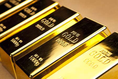 raw gold:  gold bars, studio shots, closeup