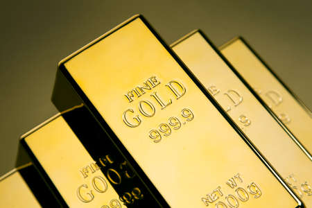 Photo of gold bars, studio shots, closeup photo