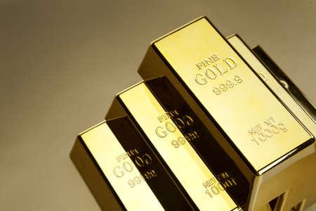 Photo of gold bars, studio shots, closeup photo