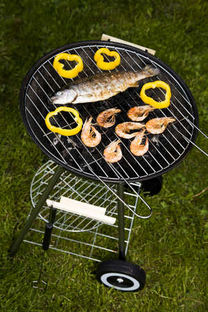 Seafood on grill photo