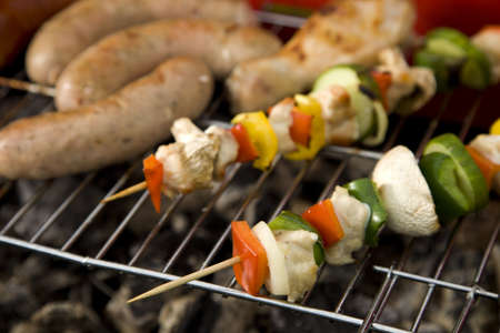barbecue party: Grill, garden, green grass and good weather