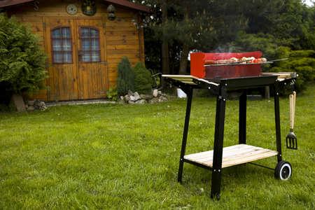 정원에서 바베큐, 정말 맛있는 저녁 식사 스톡 콘텐츠