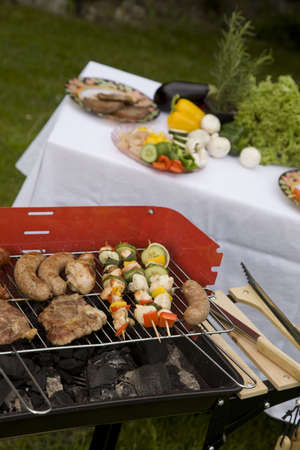 barbequing: Barbeque in the garden, really tasty dinner Stock Photo