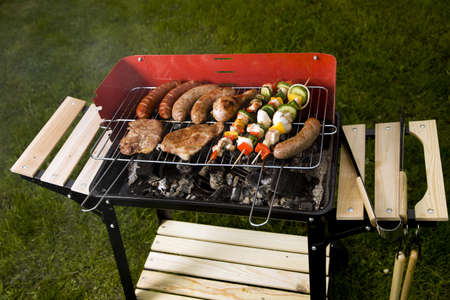 barbequing: Barbeque in the garden, really tasty dinner