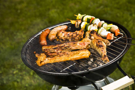Barbeque in the garden, really tasty dinner  photo