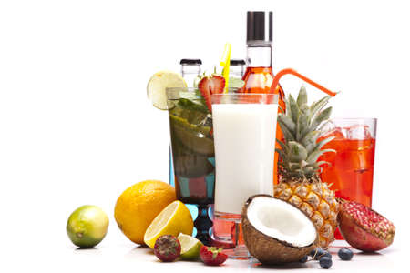 Exotic alcohol drinks set with fruits isolated on white background Stock Photo - 14950762