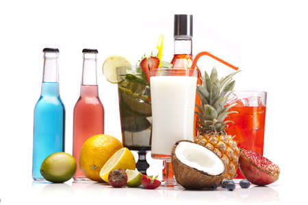 Exotic alcohol drinks set with fruits isolated on white background photo