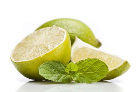 Set od lemons with mint on white background photo