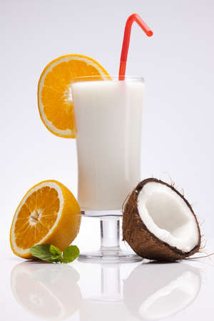 Exotic Pina Colada Drink isolated on white photo