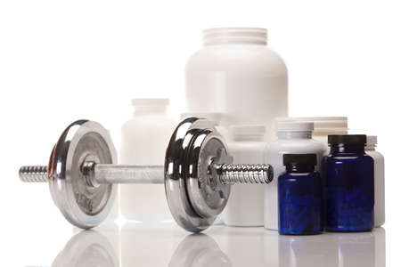 sports medicine: Sport and Fitness Supplement isolated on white background