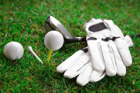 golf equipment: Golf ball on the green grass  Studio Shot  Stock Photo