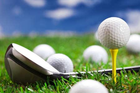 golf glove: Golf ball on the green grass  Studio Shot  Stock Photo