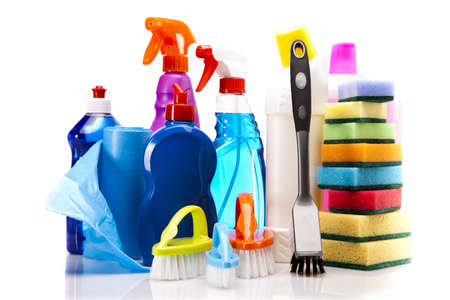 Cleaning items isolated on white background photo