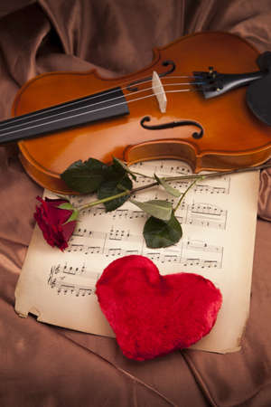 style sheet: Violin, music, love and extasy  Everything for valentines Stock Photo