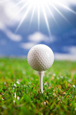 Golf ball on the green grass  Studio Shot  Stock Photo