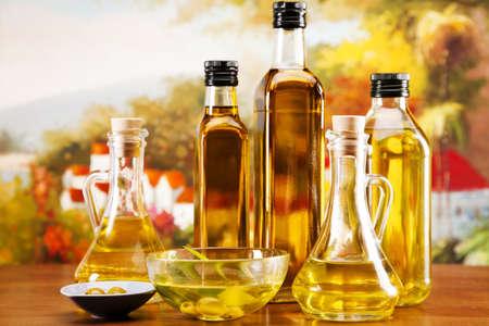 extra: Fresh olives, olive oil on olive wood. Extra virgin