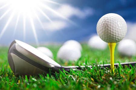 Golf ball on the green grass. Studio Shot!