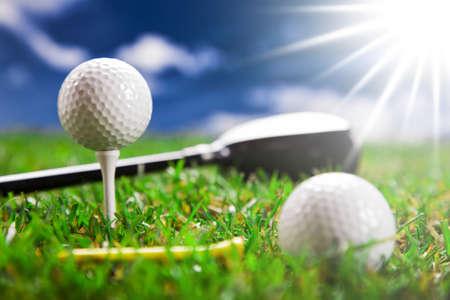 golfball: Golf ball on the green grass  Studio Shot  Stock Photo