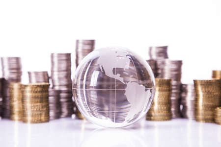 financial world: Financial concept  World and money isolated on white background