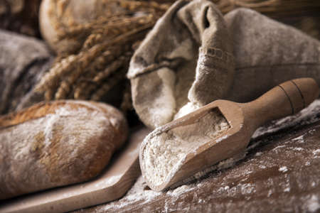 bakery products: Traditional set of bread, loaves and other ingredients Stock Photo