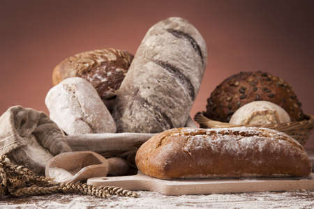 Traditional set of bread, loaves and other ingredients photo