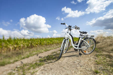 Two bikes on rock path, in summer Stock Photo - 22153109