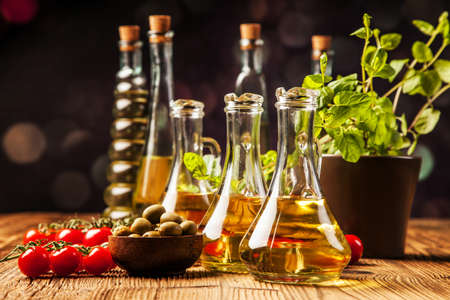 Olive oils i bottles  Food ingredients photo