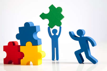 concept of teamwork, people and icons photo