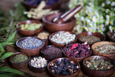 medicina natural: Los antiguos chinos de medicina, hierbas e infusiones Foto de archivo
