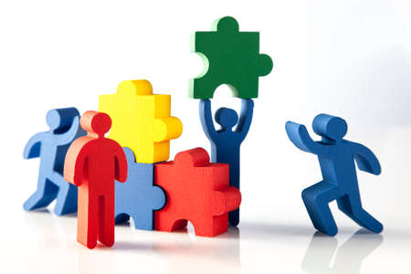 teamwork together: concept of teamwork, people and icons Stock Photo