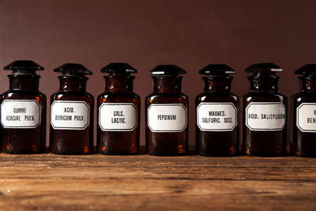 poison bottle: The ancient natural medicine, herbs and medicines Stock Photo