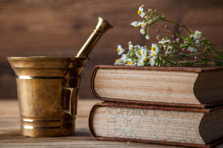 The ancient natural medicine, herbs,  medicines and old book