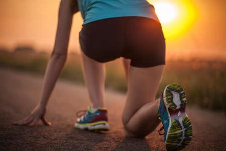 jogging track: Sprinter start position on the track. Jogging sport Stock Photo