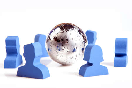 human figures: concept of teamwork, people and icons Stock Photo